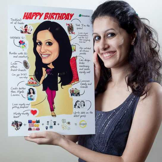 birthday gift for wife - caricature poster