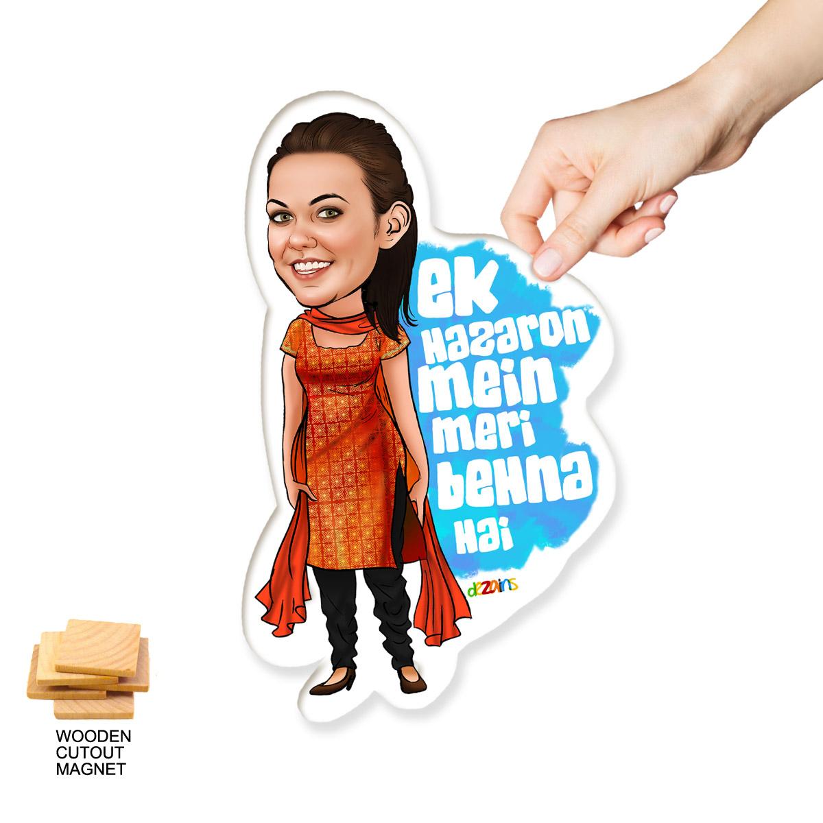 fridge magnet for sister caricature